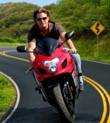 Dana Kamide on Honda Motorcycle
